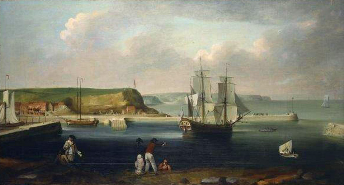 Endeavour leaving Whitby Harbour, by Thomas Luny, c. 1790