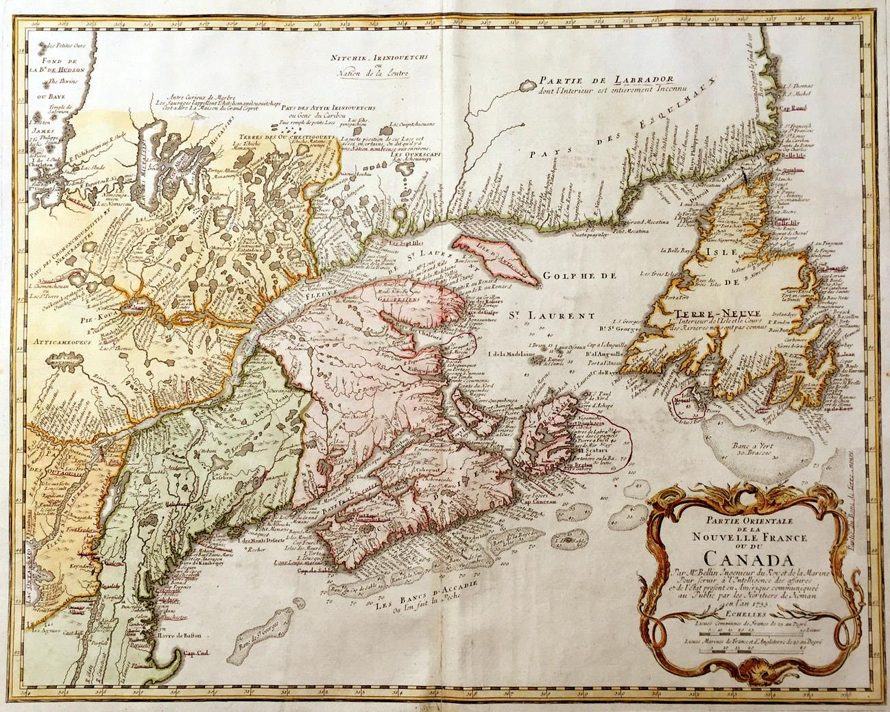 Partie Orientale de la Nouvelle France ou du Canada - Jacques Bellin, 1755