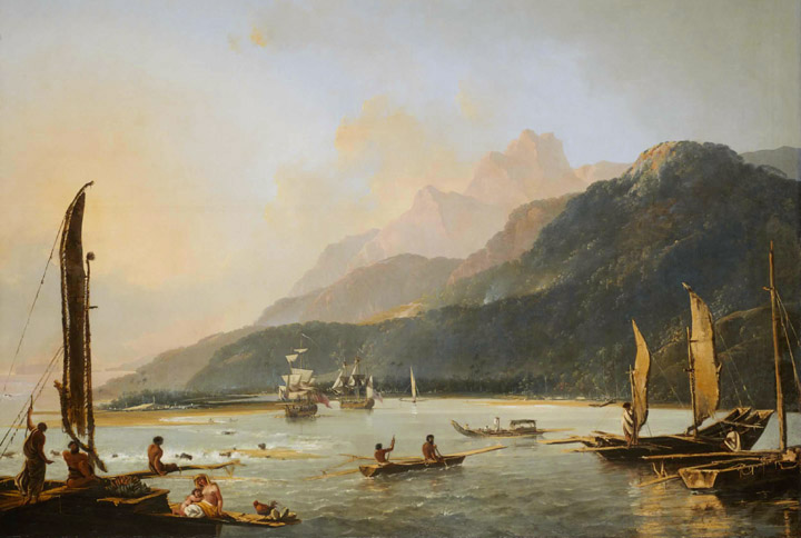Resolution and Adventure with fishing craft in Matavai Bay, painted by William Hodges in 1776