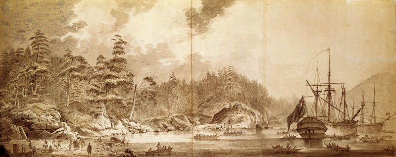 Resolution and Discovery in Ship Cove, Nootka Sound, by John Webber, 1778 (National Maritime Museum)