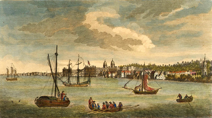 The Royal George at Deptford Showing Launch of The Cambridge, by John Cleveley the Elder, 1757